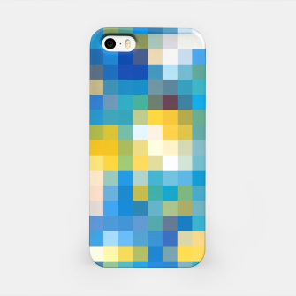 Imagen en miniatura de pixel geometric square pattern abstract in blue and yellow iPhone Case, Live Heroes