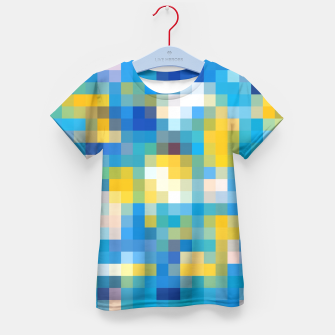 Imagen en miniatura de pixel geometric square pattern abstract in blue and yellow Kid's T-shirt, Live Heroes
