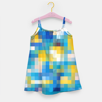 Thumbnail image of pixel geometric square pattern abstract in blue and yellow Girl's Dress, Live Heroes