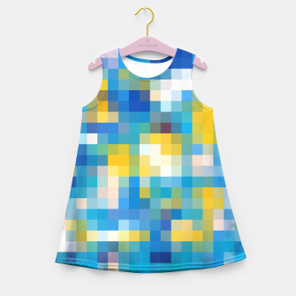 Imagen en miniatura de pixel geometric square pattern abstract in blue and yellow Girl's Summer Dress, Live Heroes