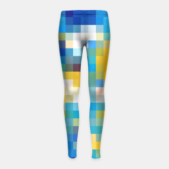 Imagen en miniatura de pixel geometric square pattern abstract in blue and yellow Girl's Leggings, Live Heroes