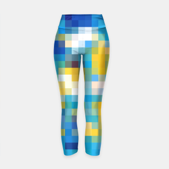 Imagen en miniatura de pixel geometric square pattern abstract in blue and yellow Yoga Pants, Live Heroes