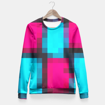 Imagen en miniatura de pixel geometric square pattern abstract in blue pink and black Fitted Waist Sweater, Live Heroes