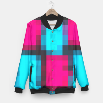 Thumbnail image of pixel geometric square pattern abstract in blue pink and black Baseball Jacket, Live Heroes