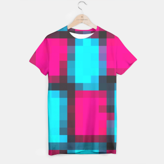 Miniatur pixel geometric square pattern abstract in blue pink and black T-shirt, Live Heroes