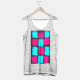 Imagen en miniatura de pixel geometric square pattern abstract in blue pink and black Tank Top regular, Live Heroes