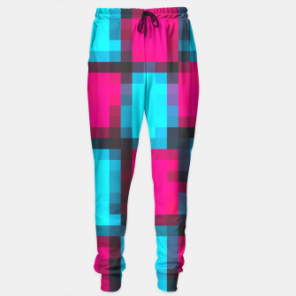 Thumbnail image of pixel geometric square pattern abstract in blue pink and black Sweatpants, Live Heroes