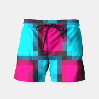 Thumbnail image of pixel geometric square pattern abstract in blue pink and black Swim Shorts, Live Heroes