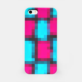 Imagen en miniatura de pixel geometric square pattern abstract in blue pink and black iPhone Case, Live Heroes