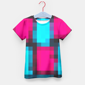 Imagen en miniatura de pixel geometric square pattern abstract in blue pink and black Kid's T-shirt, Live Heroes