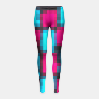 Imagen en miniatura de pixel geometric square pattern abstract in blue pink and black Girl's Leggings, Live Heroes