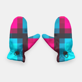 Thumbnail image of pixel geometric square pattern abstract in blue pink and black Gloves, Live Heroes