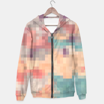 Thumbnail image of pixel geometric square pattern abstract in pink purple green Hoodie, Live Heroes