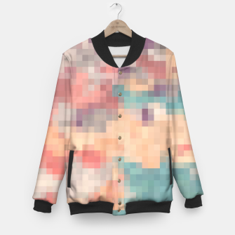Thumbnail image of pixel geometric square pattern abstract in pink purple green Baseball Jacket, Live Heroes