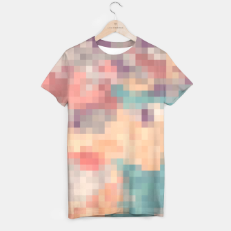 Miniatur pixel geometric square pattern abstract in pink purple green T-shirt, Live Heroes