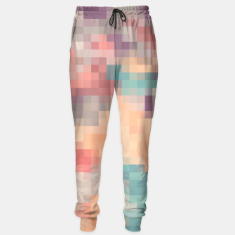 Thumbnail image of pixel geometric square pattern abstract in pink purple green Sweatpants, Live Heroes
