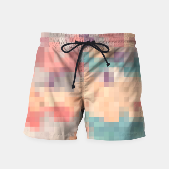 Thumbnail image of pixel geometric square pattern abstract in pink purple green Swim Shorts, Live Heroes