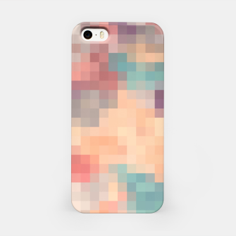 Thumbnail image of pixel geometric square pattern abstract in pink purple green iPhone Case, Live Heroes