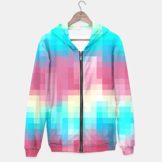 Thumbnail image of pixel geometric square pattern abstract in pink yellow blue green Hoodie, Live Heroes