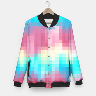 Thumbnail image of pixel geometric square pattern abstract in pink yellow blue green Baseball Jacket, Live Heroes