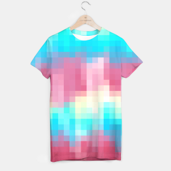 Miniatur pixel geometric square pattern abstract in pink yellow blue green T-shirt, Live Heroes