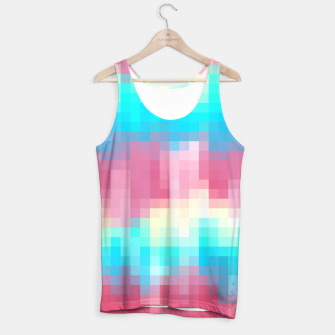 Thumbnail image of pixel geometric square pattern abstract in pink yellow blue green Tank Top, Live Heroes