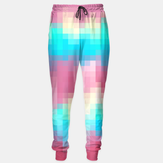 Thumbnail image of pixel geometric square pattern abstract in pink yellow blue green Sweatpants, Live Heroes
