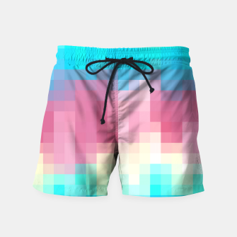 Thumbnail image of pixel geometric square pattern abstract in pink yellow blue green Swim Shorts, Live Heroes