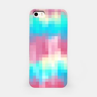 Imagen en miniatura de pixel geometric square pattern abstract in pink yellow blue green iPhone Case, Live Heroes