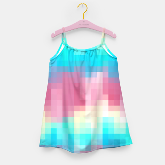 Thumbnail image of pixel geometric square pattern abstract in pink yellow blue green Girl's Dress, Live Heroes