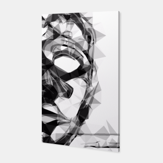 Thumbnail image of psychedelic geometric polygon pattern face portrait in black and white Canvas, Live Heroes