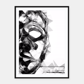 Imagen en miniatura de psychedelic geometric polygon pattern face portrait in black and white Framed poster, Live Heroes