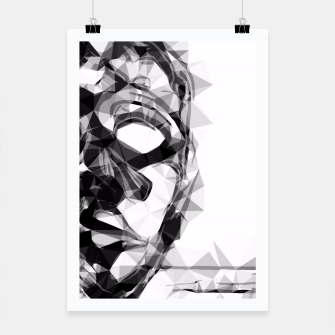 Imagen en miniatura de psychedelic geometric polygon pattern face portrait in black and white Poster, Live Heroes
