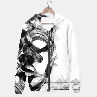Thumbnail image of psychedelic geometric polygon pattern face portrait in black and white Hoodie, Live Heroes
