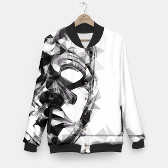 Thumbnail image of psychedelic geometric polygon pattern face portrait in black and white Baseball Jacket, Live Heroes