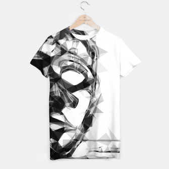 Miniatur psychedelic geometric polygon pattern face portrait in black and white T-shirt, Live Heroes