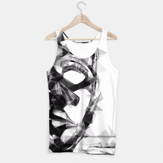 Thumbnail image of psychedelic geometric polygon pattern face portrait in black and white Tank Top, Live Heroes