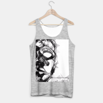 Imagen en miniatura de psychedelic geometric polygon pattern face portrait in black and white Tank Top regular, Live Heroes