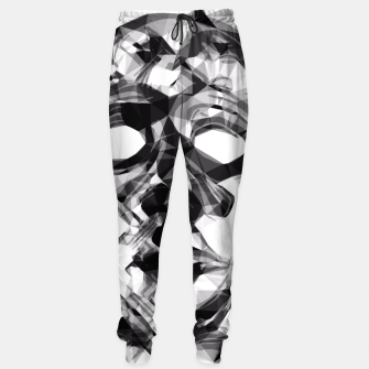 Thumbnail image of psychedelic geometric polygon pattern face portrait in black and white Sweatpants, Live Heroes