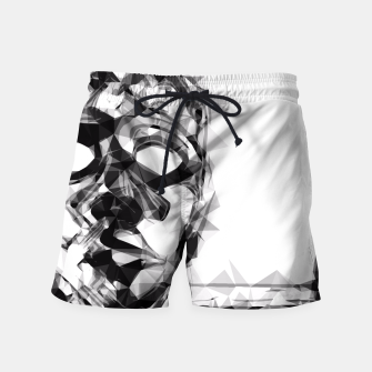 Thumbnail image of psychedelic geometric polygon pattern face portrait in black and white Swim Shorts, Live Heroes