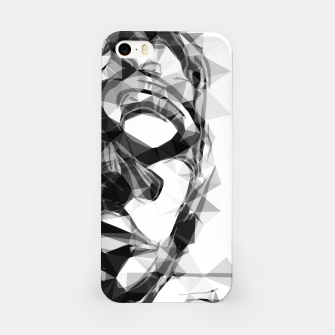 Imagen en miniatura de psychedelic geometric polygon pattern face portrait in black and white iPhone Case, Live Heroes