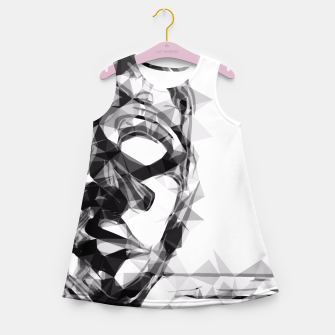 Imagen en miniatura de psychedelic geometric polygon pattern face portrait in black and white Girl's Summer Dress, Live Heroes