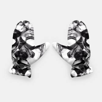 Thumbnail image of psychedelic geometric polygon pattern face portrait in black and white Gloves, Live Heroes