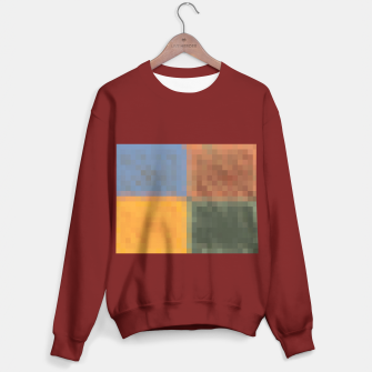 Miniaturka pixel geometric square pattern abstract in yellow brown green blue Sweater regular, Live Heroes