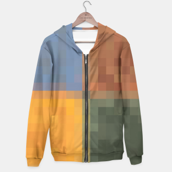 Thumbnail image of pixel geometric square pattern abstract in yellow brown green blue Hoodie, Live Heroes