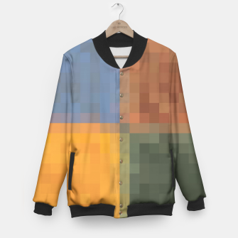 Thumbnail image of pixel geometric square pattern abstract in yellow brown green blue Baseball Jacket, Live Heroes