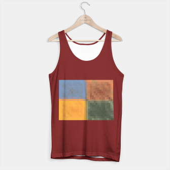 Imagen en miniatura de pixel geometric square pattern abstract in yellow brown green blue Tank Top regular, Live Heroes