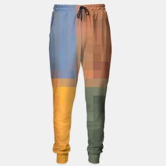 Thumbnail image of pixel geometric square pattern abstract in yellow brown green blue Sweatpants, Live Heroes