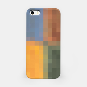 Imagen en miniatura de pixel geometric square pattern abstract in yellow brown green blue iPhone Case, Live Heroes