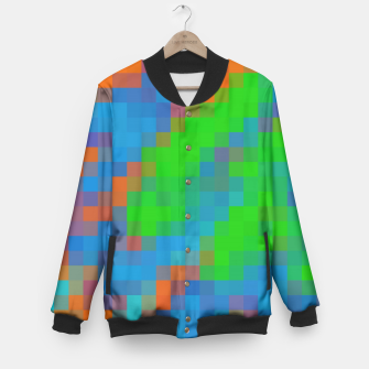 Thumbnail image of pixel geometric square pattern abstract in green blue orange Baseball Jacket, Live Heroes